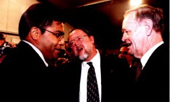 With Canadian Prime Minister Jean Chretien (right) and Ambassador to Israel Michael Bell (center).  June 2000, Jerusalem