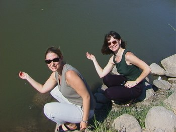 Heather and Christine Fennell at the Jordan River, July 2000