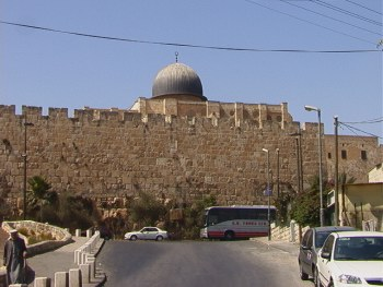 Al-Aqsa Mosque from the street, Jerusalem, August 12, 2000