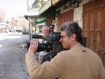 Azur and Paul, CBC crew in Hebron, Feb 2002